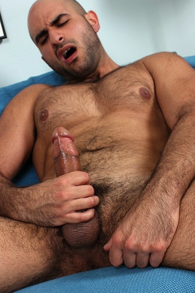 Hairy muscle stud tommy defendi jerking off his big thick cock horse cock men
